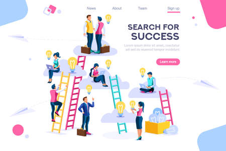 Joint idea Search community advertising icons simple set Path Goal Achievement Stairs Up signs achievement Ambition Career Motivation success symbols. Search tool icon. Spanner tool line colorful set