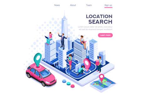 Lokalizacja miasta, system znaczników kartograficznych. Nawigator map, koncepcja nawigacji smartfona na baner internetowy, infografiki, obrazy bohaterów. Płaskie izometryczne wektor ilustracja na białym tle