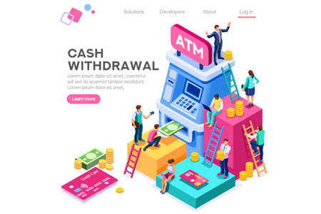 Financial, withdrawal cash. Human queue at atm, web cashbox, machine transaction, can use for web banner, infographics, hero images. Flat isometric vector illustration isolated on white background Vettoriali