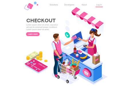 Supermarket, line waiting images, buyer basket checkout, retail. Woman, customer purchase, cashbox buy. Web banner, infographics. Flat isometric vector illustration isolated on white background