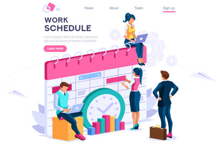 Week schedule, daily plan, work organizer. People and text, characters concept for web banner, infographics, hero images. Flat isometric vector illustration isolated on white background