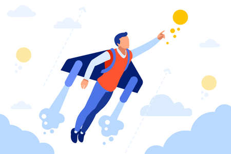 Business Extreme to Achieve way. Vehicle to fly, jet transportation pack. Activity, move, Recreation concept for web banner, infographics, hero images. Flat isometric vector illustration isolated on Ilustrace