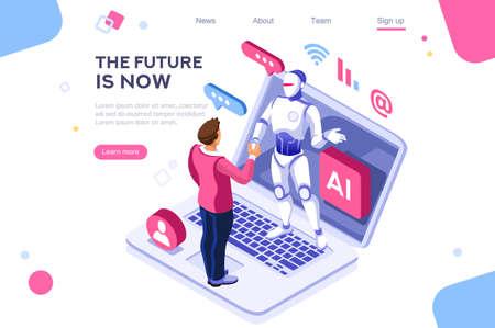 Interacción tecnológica interactiva humana. Imágenes de robots humanos que trabajan en la oficina, se pueden utilizar para banner web, infografías, imágenes de héroes. Ilustración de vector plano isométrico aislado sobre fondo blanco