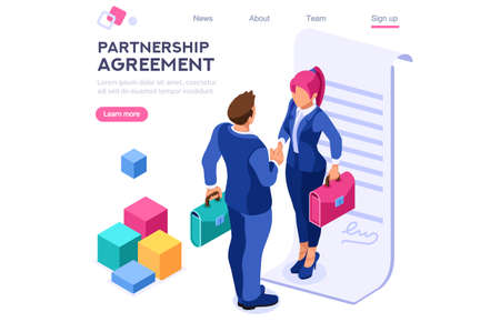 Success Partnership Successful Contract Greeting Partner Leadership Friendship Agreement Idea Concept for Web Banner Infographics Images. Flat Isometric Illustration Isolated on White Background Çizim