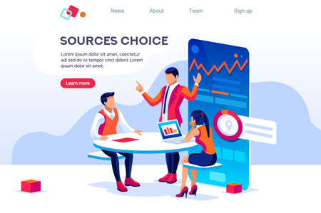 Table Technology for Choosing Database. Isolated Sitting Workplace. Touchscreen Website, Online Material for Web Banner Infographics Images. Flat Isometric Illustration Isolated on White Background
