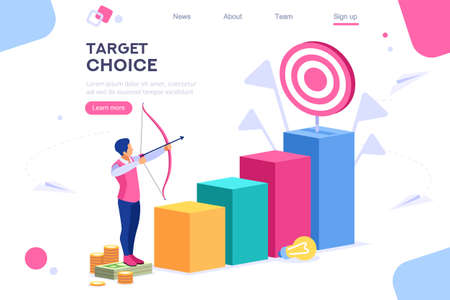 Marketing Moving Up Path. Target Choice. Achievement and Grow Goal Measurement Run Concept for Web Banner Infographics Images. Flat Isometric Illustration Isolated on White Background