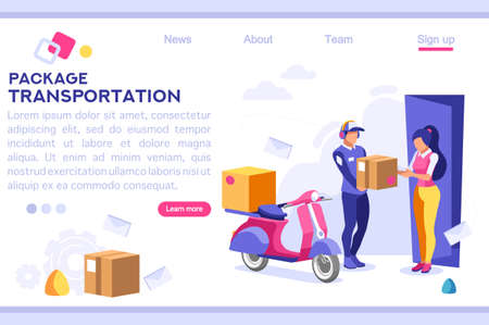 Mail Office Page Concept, Postage Package Website. Courier Transportation of Cartoon Package on Web. Bringing Character. Web Banner, Hero Images, Flat Illustration Isolated on White Background. Illustration