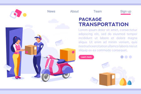 Mail Office Page Concept, Postage Package Website. Courier Transportation of Cartoon Package on Web. Bringing Character. Web Banner, Hero Images, Flat Illustration Isolated on White Background. Ilustração