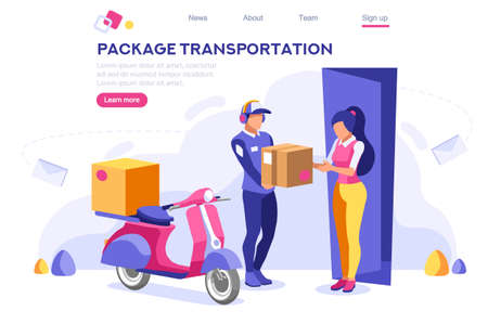 Mail Office Page Concept, Postage Package Website. Courier Transportation of Cartoon Package on Web. Bringing Character. Web Banner, Hero Images, Flat Illustration Isolated on White Background. Stock Illustratie