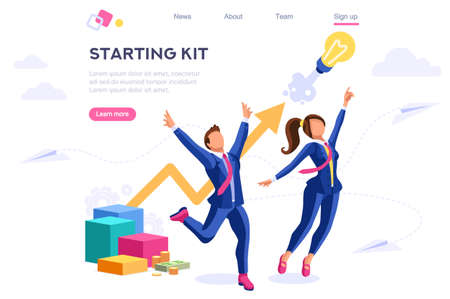 Application Idea Start Success Cloud Project. Advanced Analysis, Arrow Performance, Creative Center Process. Web Banner Infographic Hero Images Flat Isometric Illustration Isolated on White Background
