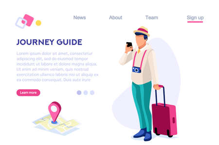 Journey Guide. Person with Luggage. Tourist Collection. Photographing Set, Sight, Art Visiting. Tourism for Young. Travel Clip, Traveling. Cartoon Flat Vector Illustration Hero Images Isometric Banner