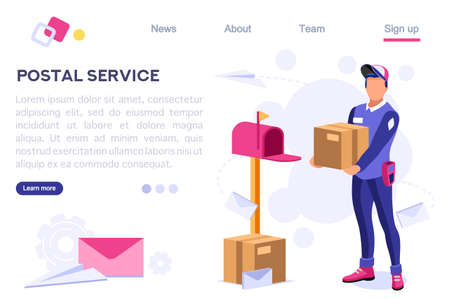 Delivery Air Shipping Person Post Mail, Parcel Set. Polluted Element. Wear a Face for Service. Clip with Workers, Express Clipart. Cartoon Flat Vector Illustration Hero Image Isometric Banner Illusztráció