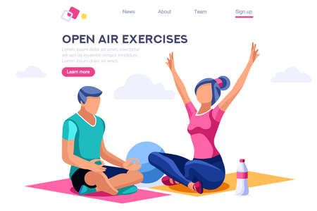 Relaxation Sport Clipart. Healthy Old Wear, Lifestyle, Together Activity, Energy Clip. Open Air Leisure for Exercise Playing. Cartoon Flat Vector Illustration Hero Image Isometric Banner.