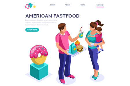 Female Hot Nutrition. Cafe, Character with Beverage, Soda Food. Fast Lifestyle, Meal, French Fries Eating. Calorie Cartoon Flat Vector Illustration, Hero Images, Isometric Banner. Web Page Image. Çizim