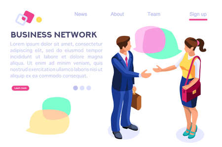Thinking Network Consulting. Businessman Style. Chat Dialogue Discuss, Social Dialog Connection, Discussion of Corporate. Bubble, Work Speech, Blog Cartoon Flat Vector Illustration Hero Images Banner. Иллюстрация