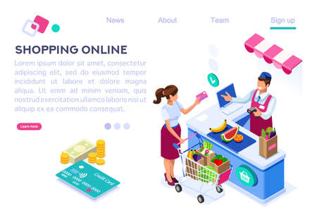 Paper Customer Pay at Store. Goods Cartoon. Buys, Buyer Purchase, Supermarket Line and Trolley. Sale Grocery Business, Consumerism of Retail. Flat Vector Illustration Hero Images Isometric Banner Illustration