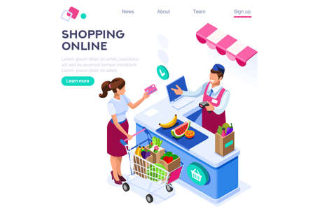 Paper Customer Pay at Store. Goods Cartoon. Buys, Buyer Purchase, Supermarket Line and Trolley. Sale Grocery Business, Consumerism of Retail. Flat Vector Illustration Hero Images Isometric Banner Illusztráció