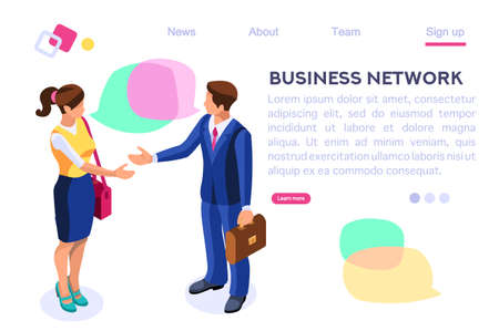 Thinking Network Consulting. Businessman Style. Chat Dialogue Discuss, Social Dialog Connection, Discussion of Corporate. Bubble, Work Speech, Blog Cartoon Flat Vector Illustration Hero Images Banner. Çizim