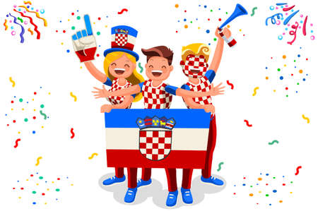 Croatians Flag Croatia Icon, Simple Signs. Symbol Croatia Flag. Summer Games Flat Vector Illustration Banner.