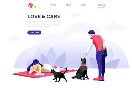 Relationship Poster, Domestic Concept. Leisure for Character. Flyer with Animal for Female, Relax Banner. Male Care, Walk and Love, Outdoor with Pet. Cartoon Flat Vector Illustration Isometric Banner. Çizim