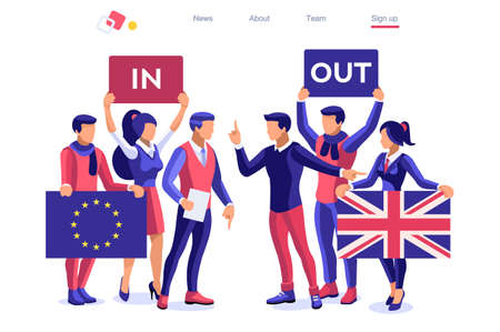 Uk concept United Kingdom banner. Political traditional government country voting anti European Union. Waving politics patriotic international supporters. Humans support separated flag. Cartoon word Çizim