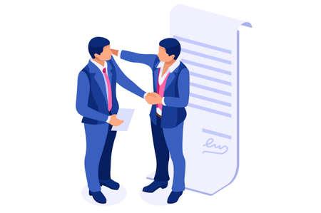 Partner sul concetto di accordo di fondo per contratto o partnership. Web per il saluto riuscito di amicizia come idea. Carriera in azienda per la leadership aziendale come un successo cooperare per un incontro Vettoriali