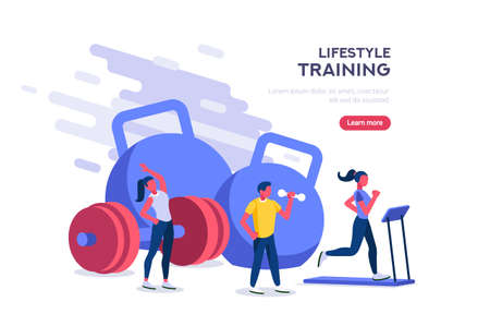 Exercise concept of recreation as flat vector Illustration. Healthy bodybuilding for strength. Equipment for life lifestyle and power training on energy activity as strong metaphor.