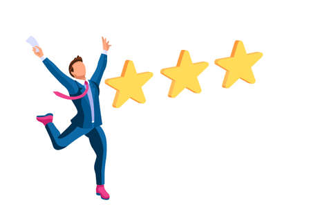 People rate website a positive choice with 5 stars on application as customer good satisfaction. Business gives success trough support ui for best web rating with style. Flat vector illustration.