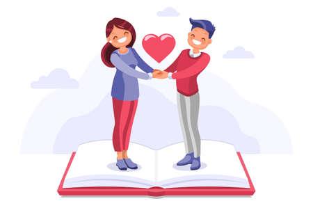 Novia joven y romántico cielo relajante. El tiempo libre en los libros, la pareja humana en casa, el ocio de la unión con la luz del amor en una persona voladora, es su novio. Ilustración de vector plano de dibujos animados. Ilustración de vector