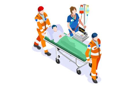 Berufe des Webpersonals im Krankenhaus, Website für Rettungssanitäter für den Notfall. Arzt Cartoon Medic Mann bei der Ersten Hilfe mit Patienten und Krankenwagen. Menschliche flache Vektorillustration. Vektorgrafik