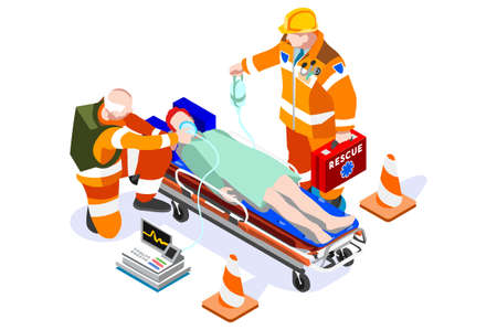 Web Staff Professions at the Hospital, Paramedic Medicine Website for Emergency. Physician Cartoon Medic Man at First Aid with Patient and Ambulance. Human flat vector illustration.