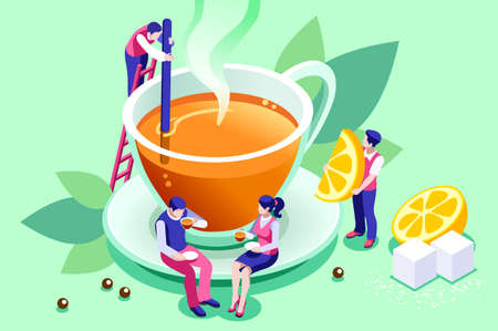 The tasty and healthy aroma of a morning beverage. Green ingredient as a leaf in a hot organic delicious drink to taste the natural lifestyle concept. Cartoon flat vector illustration.