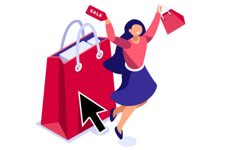 Trendy online store. Website with bag of female buyer. Customer transaction on e-commerce. Modern market, fashion ecommerce shop with cartoon character paying at shopping cart payment web page. Vector