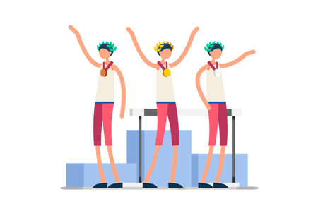 Crowd of persons celebrate xxxii summer games athletics medal. Sportive people celebrating hurdles team. Hurdler athlete symbol on victory celebration. Sports cartoon symbolic flat vector illustration
