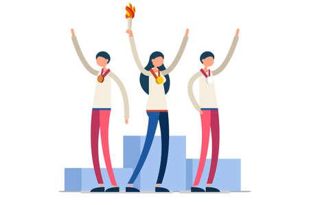Crowd of persons celebrate xxxii summer games, athletics gold medal. Sportive people celebrating, athletes team. Athlete symbol of victory celebration. Sports cartoon symbolic flat vector illustration