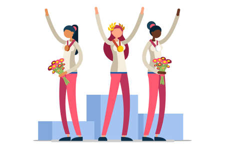Crowd of persons celebrate summer games, athletics gold medal. Sportive people celebrating athletes team podium victory celebration. Female athlete symbol, sports cartoon symbolic vector illustration.