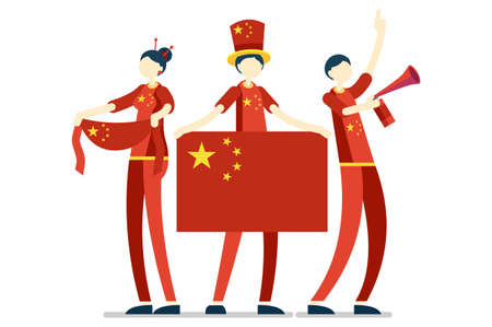 Crowd of persons celebrate national day of China with a flag. Chinese people celebrating a football team. Soccer symbol and victory celebration. Sports cartoon symbolic flat vector illustration
