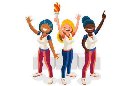 Crowd of persons celebrate summer games, athletics gold medal. Sportive people celebrating athletes team podium victory celebration. Female athlete symbol, sports cartoon symbolic vector illustration.