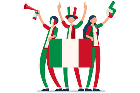 Crowd of persons celebrate national day of Italia with a flag. Italian people celebrating a football team. Soccer symbol and victory celebration. Sports cartoon symbolic flat vector illustration Vectores