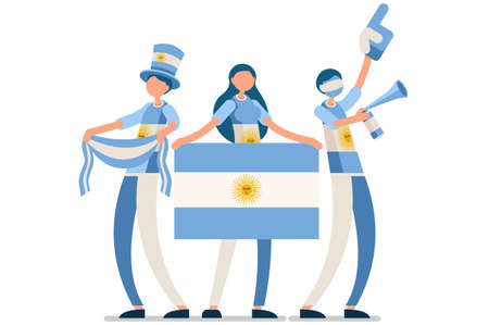 Crowd of persons celebrate national day of Argentina with a flag. Argentine people celebrating a football team. Soccer symbol and victory celebration. Sports cartoon symbolic flat vector illustration Vectores