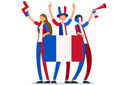 Crowd of persons celebrate national day of France with a flag. French people celebrating a football team. Soccer symbol and victory celebration. Sports cartoon symbolic flat vector illustration Vectores