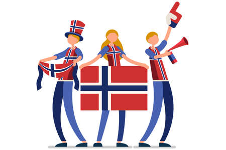 Crowd of persons celebrate national day of Norway with a flag. Norwegian people celebrating a football team. Soccer symbol and victory celebration. Sports cartoon symbolic flat vector illustration Vectores
