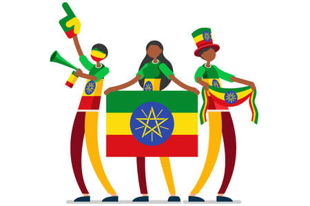 Crowd of persons celebrate national day of Ethiopia with a flag. Ethiopian people celebrating a football team. Soccer symbol and victory celebration. Sports cartoon symbolic flat vector illustration Illustration