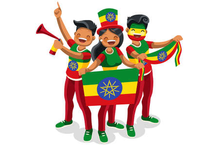 Crowd of persons celebrate national day of Ethiopia with a flag. 向量圖像