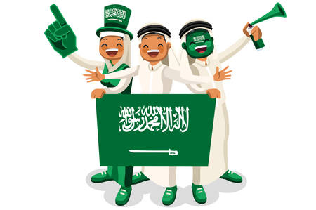 Crowd of persons celebrate national day of Saudi Arabia with a flag. Saudi people celebrating a football team. Soccer symbol and victory celebration. Sports cartoon symbolic flat vector illustration