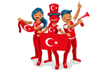 Crowd of persons celebrate national day of Turkey with a flag. Turkish people celebrating a football team. Soccer symbol and victory celebration. Sports cartoon symbolic flat vector illustration