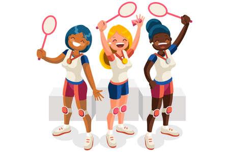 Crowd of persons celebrate summer games athletics medal. Sportive people celebrating badminton team. Badminton player athlete symbol victory celebration. Sports cartoon symbolic flat vector