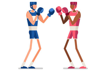 Male of person celebrate summer games athletics medal. Sportive people celebrating boxing team. boxer athlete symbol victory celebration. Sports cartoon symbolic flat vector illustration. Ilustração