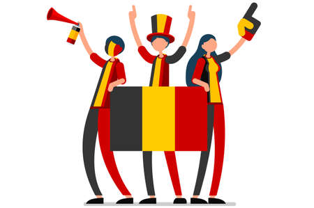 Crowd of persons celebrate national day of Belgium with a flag. Belgian people celebrating a football team. Soccer symbol and victory celebration. Sports cartoon symbolic flat vector illustration