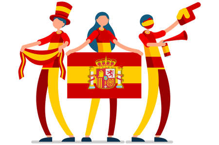 Crowd of persons celebrate national day of Spain with a flag. Spanish people celebrating a football team. Soccer symbol and victory celebration. Sports cartoon symbolic flat vector illustration Stock Illustratie